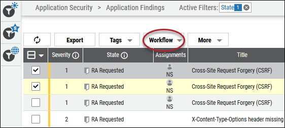 Risk Acceptance Rework - Workflow Button Location