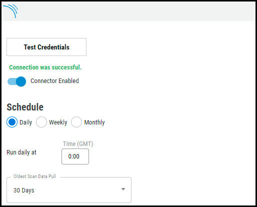 SonarQube Connector - Schedule Section