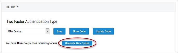 Two-Factor Authentication Type Settings - Generate New Codes Button