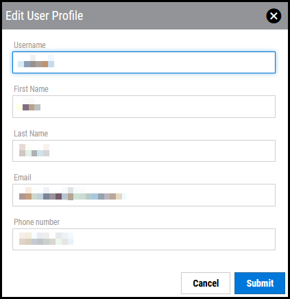 Update User Profile - Edit User Profile Window