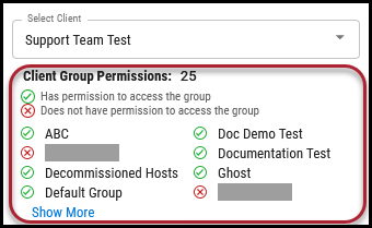 Users Page - Client Group Permissions