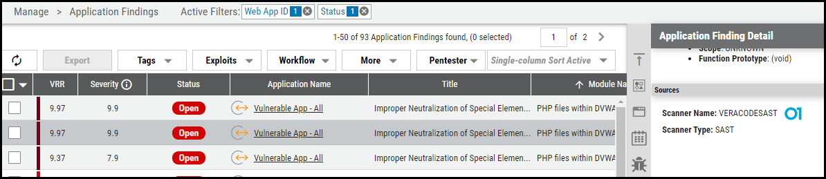 Veracode Connector - Application Findings Page
