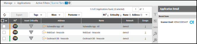 Veracode Connector - Applications Page