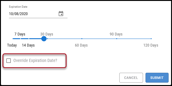 Workflow Approve - Override Expiration Date Checkbox