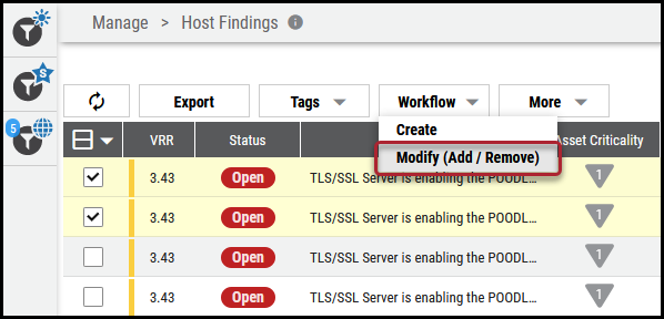 Workflow Remove Findings - Modify Add Remove Menu Location