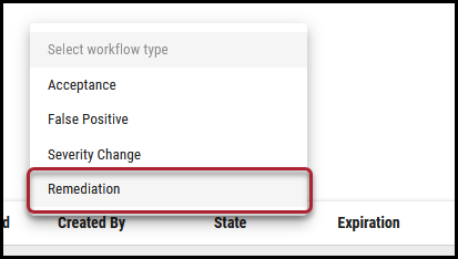 Workflow Remove Findings - Remediation Menu Location